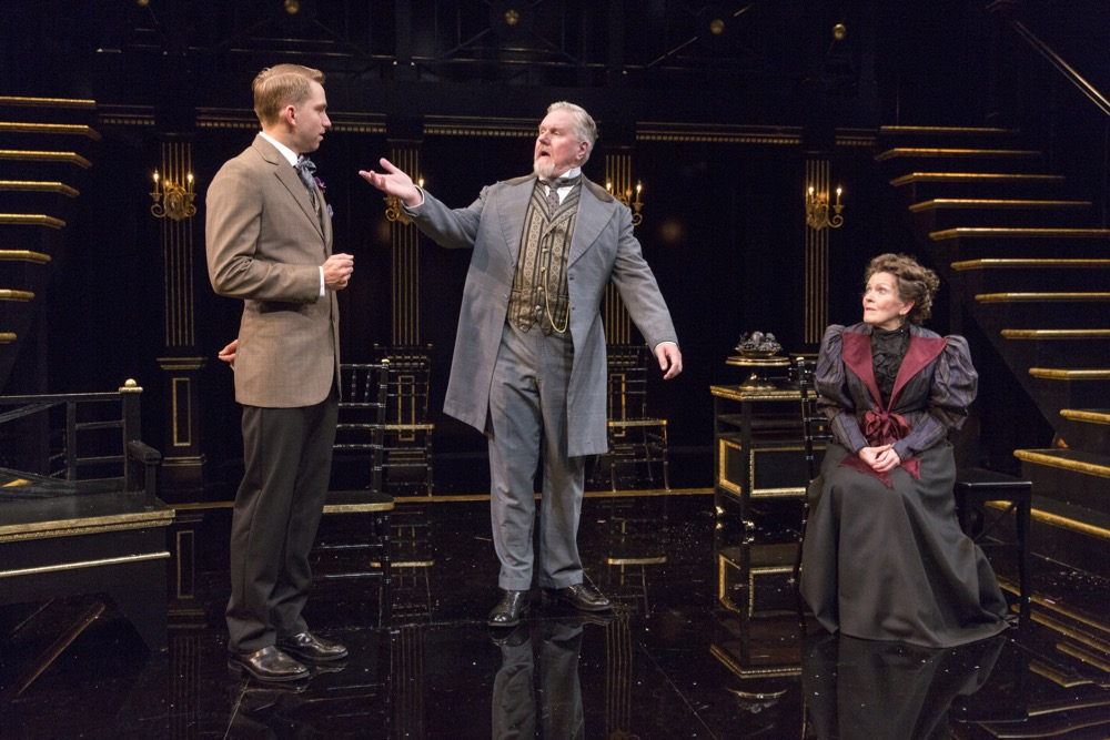 Alec Shaw, Dan Daily and Carol Schultz in Shaw's Major Barbara at the Pearl Theatre. PHOTO CREDIT- Richard Termine